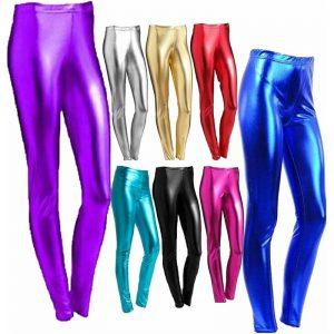 Womens Shiny Metallic Leggings