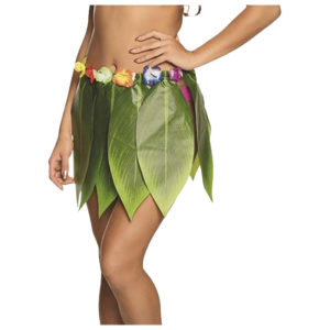Women Hula Leaf Skirt With Flowers