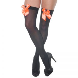 Womens Hold Up Stockings With Bow