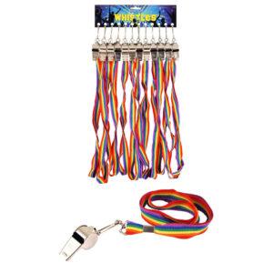 Metal Whistle With Rainbow Lanyard