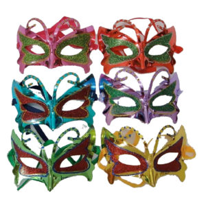 Assorted Masquerade Mask With Glitter Pack Of 6