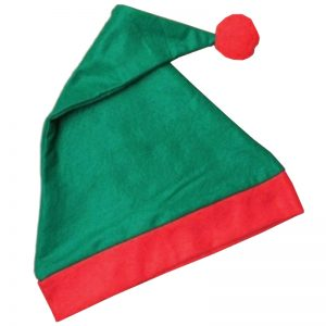 Christmas Green Elf Hat With Red Bobble