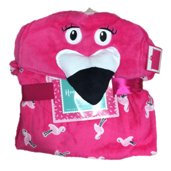 kids flamingo hooded throw