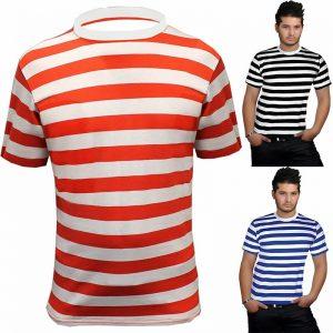 Men's Crew Neck Short Sleeve Stripes T-Shirt
