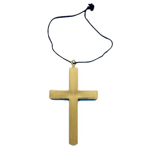 Monks Gold Cross With Necklace for adults Halloween, Christmas costumes Father Nun fancy dress up