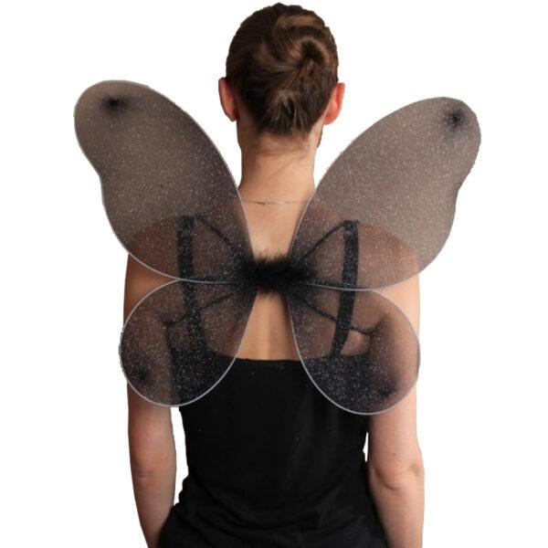 net fairy wings black 50x40cm
