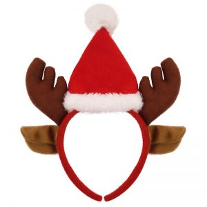Reindeer Antlers With Ears Headband & Santa Hat