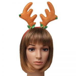 Christmas Reindeer Antlers Aliceband with Holly & Bells