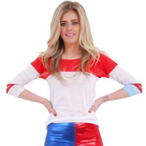 Women White, Red & Blue T-Shirt