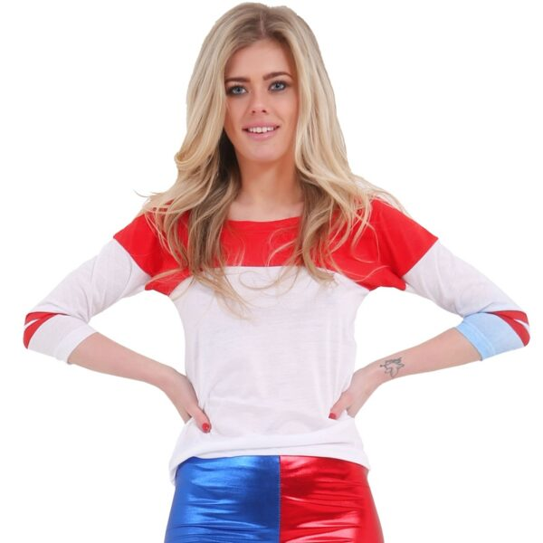 Women Metallic White, Red & Blue T-Shirt Top for women Halloween costumes Suicide Squad Harley Quinn fancy dress up