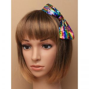 Black Ribbon Wrapped Aliceband W/ Reversible Sequin Rainbow Bow