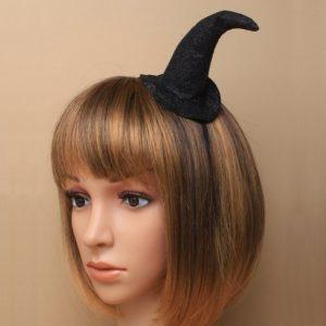 Black Aliceband W/ Glitter Witches Hat