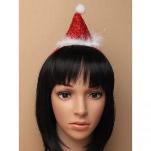 Christmas Metallic Red Santa Hat On Aliceband