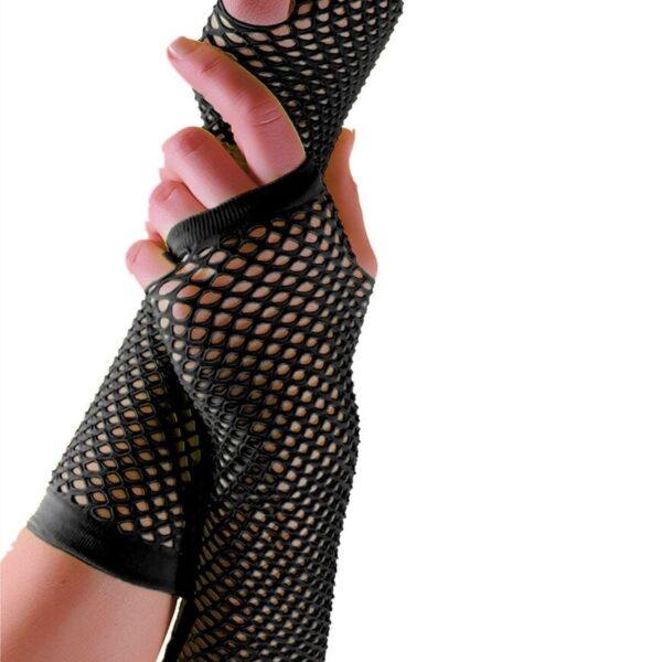 Black Long Fish Net Gloves