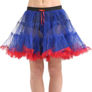 2 Layer Blue Red Ruffle Edged TUTU Skirt