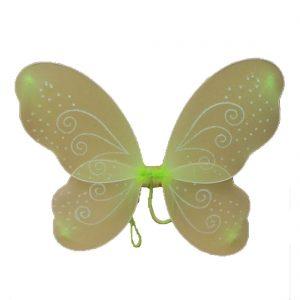 Green Net Fairy Wings With White Glitter Swirls