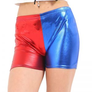 Women Metallic Red Blue Hot Pants