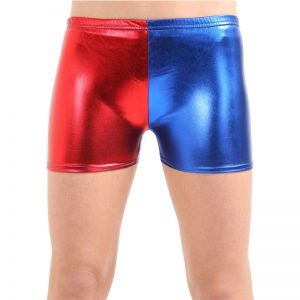 Girls Metallic Red Blue Hot Pants