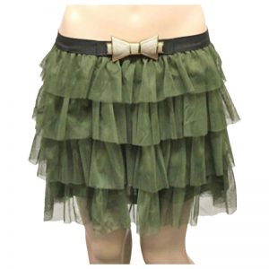 Womens 2 Layers Mesh Tiered Tutu Skirt With Bow Belt