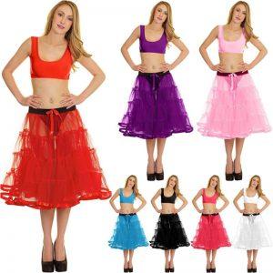 Ladies 4 Tier Petticoat TUTU Skirt With Ribbon