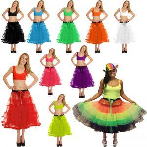Womens 5 Tier Petticoat Tutu Skirt With Ribbon
