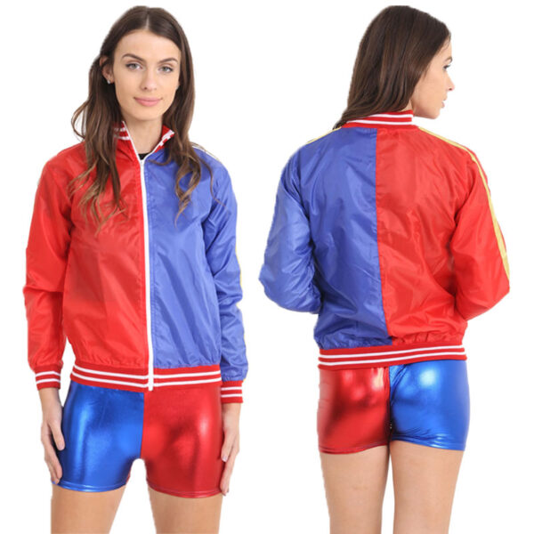 Ladies Metallic Red Blue Jacket for women Halloween costumes Suicide Squad Harley Quinn fancy dress up