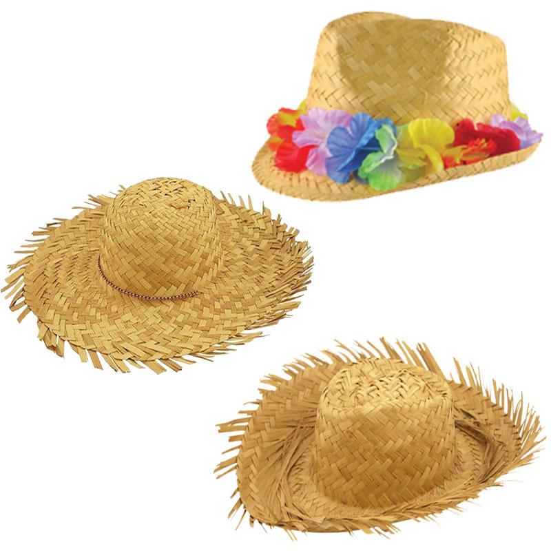 Mens Beachcomber Straw Hat Adults Hawaiian Beach Fancy Dress Party Accessory