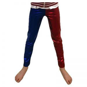 Girls Red And Blue Metallic Leggings