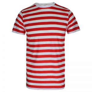 Men Red And White Stripe T Shirt