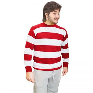 Unisex Red And White Stripe Knitted Jumper