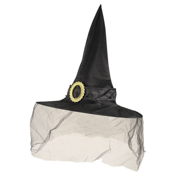 Professor Minerva McGonagall Black Witch Hat with veil for Halloween Costumes fancy dress up