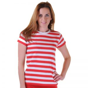 Women Red And White Stripe T-Shirt