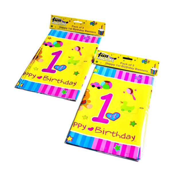1st Birthday Banner Pack Of 3