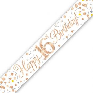 Holographic Sparkling Fizz Birthday Banner