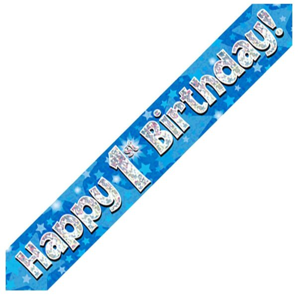 1st Blue Birthday Banner