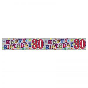 Holographic 30th Happy Birthday Banner