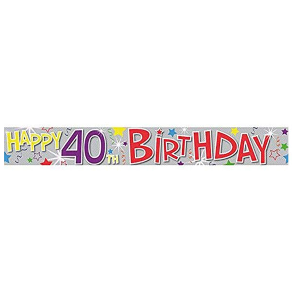 40th Happy Birthday Holographic Banner