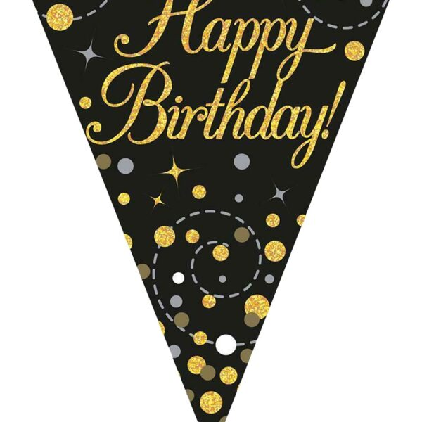 Happy Birthday Black And Gold Bunting