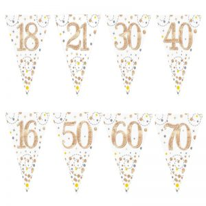White And Rose Gold Holographic Birthday Bunting