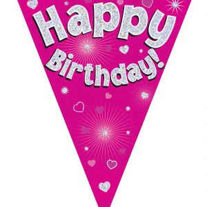 Pink Holographic Birthday Party Bunting