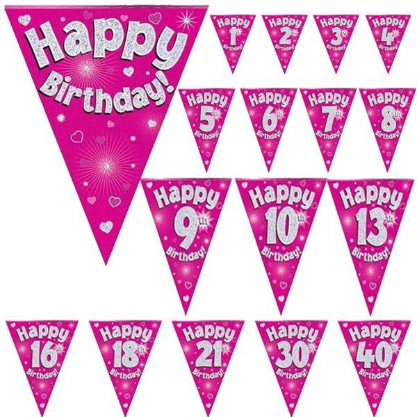 Main Pink Birthday Bunting