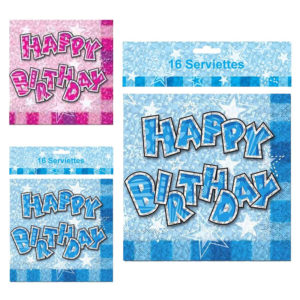 Happy Birthday Glam Serviettes Pack Of 16