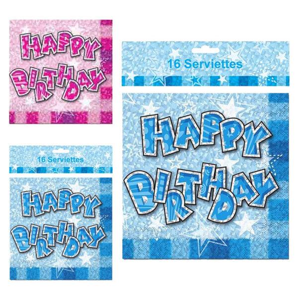 Main Birthday Glam Serviettes