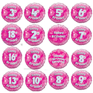 Pink Happy Birthday Holographic Balloon
