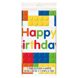 Building Blocks Happy Birthday Table Cover