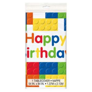 Building Blocks Happy Birthday Table Cover