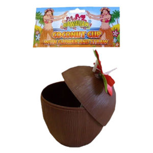 Coconut Cup with Flowers & Straw