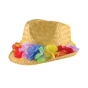 Adult Gangster Straw Hat With Flowers Band
