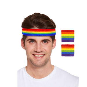 Rainbow Gay Pride Headband with Wristbands Set