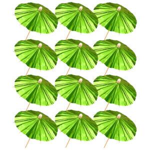 Green Foil Parasol Picks 12 pcs